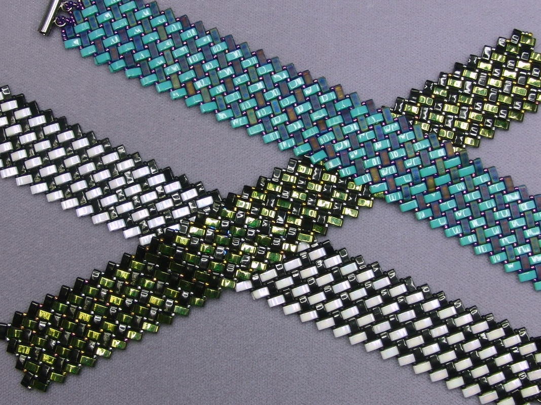 herringbone with half tila beads
