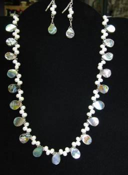 Pearl and Paua Shell Necklace