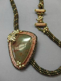 Beaded Cabochon and Tubular Herringbone