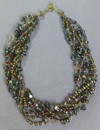 Multistrand Necklace with Crystals, Pearls, Beads