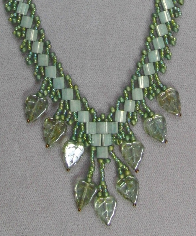 Tila Bead and Glass Leaf Necklace