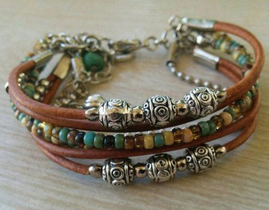 multistrand leather bracelet boho jewelery